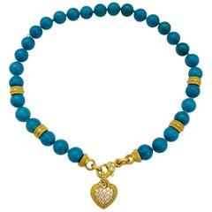 18 Karat Terrific Veined Turquoise and Diamond Judith Ripka Necklace