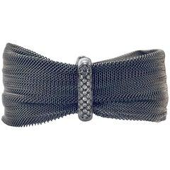 Marvelous Mesh 18 Karat Panda Pinched Bracelet with Diamond Bar