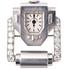 Van Cleef & Arpels, Verger Frères Art Deco Platinum and Diamond Brooch Watch