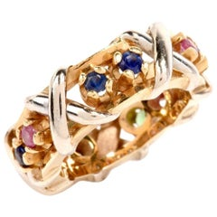 Estate Sapphire Emerald Two-Tone Gold Band Ring
