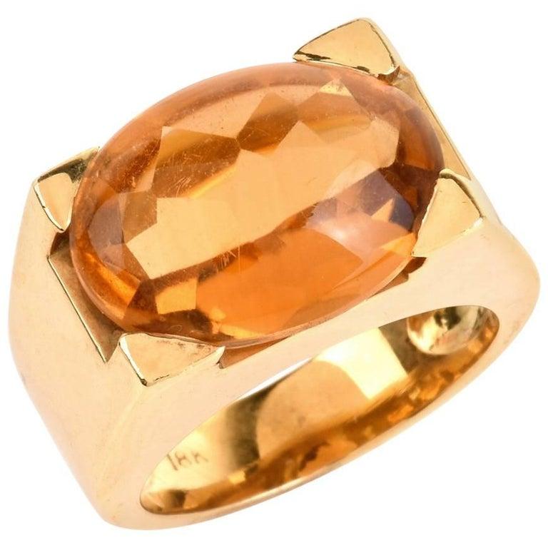 Citrine Cabochon 18 Karat Yellow Gold Cocktail Ring