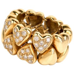 1980s Diamond Heart Motif Flexible Wide Band Ring