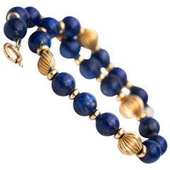 1970s Lapis Lazuli and 14 Karat Gold Bead Bracelet