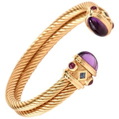 1980's Cable Wire Cabochon Amethyst Ruby Sapphire 18k-Gold Cuff Bracelet
