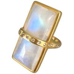 Lauren Harper Rainbow Moonstone, Diamond, Gold Cocktail Ring