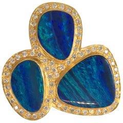 Lauren Harper Boulder Opal Diamond Gold Statement Cocktail Ring
