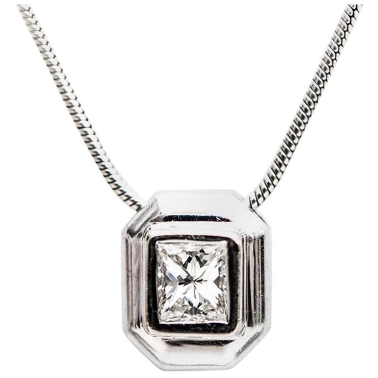 1980s 0.75 Carat Diamond Solitaire Necklace 14 Karat White Gold