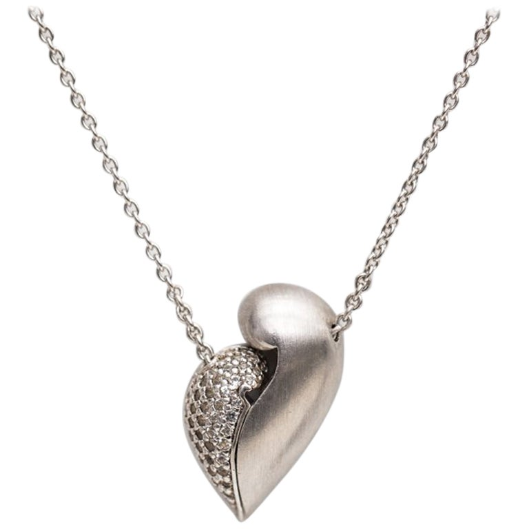 1980s Diamond Heart Necklace in Sterling Silver and White Gold