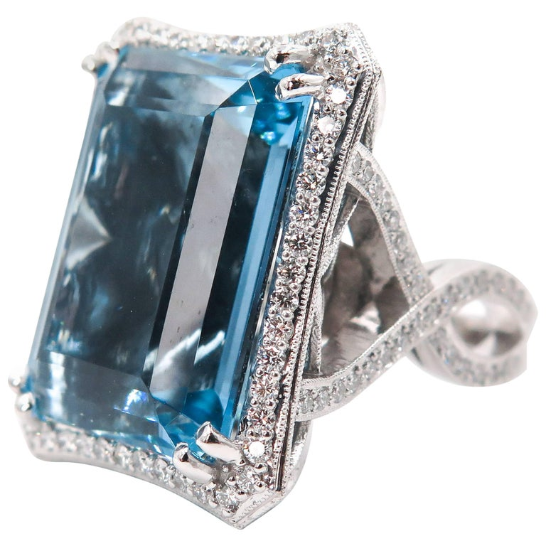 53 Carat Aquamarine Diamond White Gold Cocktail Ring