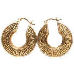 1980s Greek Key 14 Karat Yellow Gold Hoop Earrings