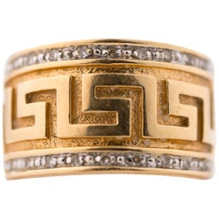 1980s Greek Key Diamond and 14 Karat Yellow Gold Band Ring