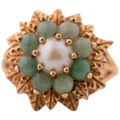 1950s Jade and Pearl 14 Karat Gold Floral Ring