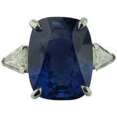 16.35 Carat Unheated Sri Lanka Blue Sapphire, Diamond Ring in Platinum GIA