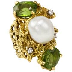 1970s Barbara Anton, Peridot Pearl Diamond and Gold Cocktail Ring