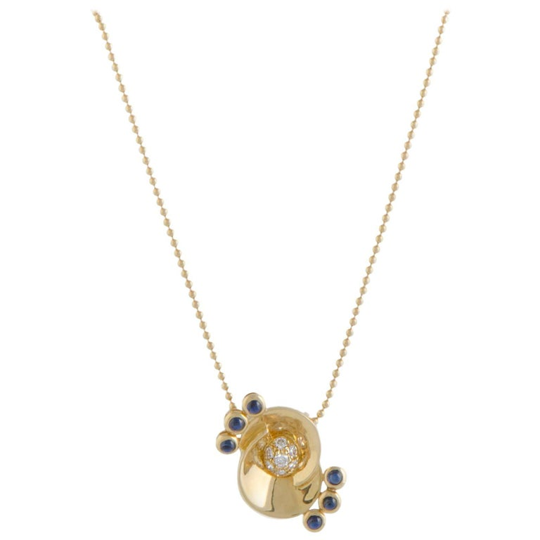 Dior Diamond and Sapphire Gold Pendant Necklace