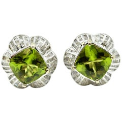 Peridot and Baguette Diamond Earrings
