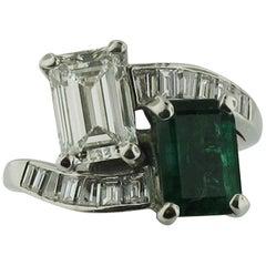 Cross-Over Platinum Diamond Ring, 1.47 Carat Diamond Gia, 1.46 Emerald