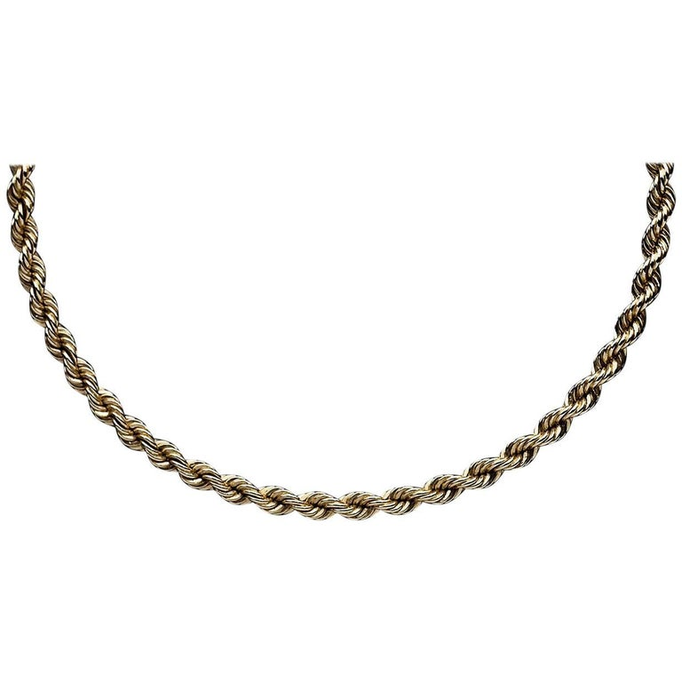 14 Karat Yellow Gold Tiffany & Co. Rope Chain Necklace