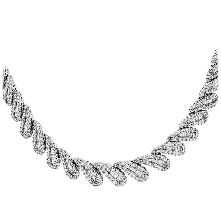 20 Carat Baguette and Round Brilliant Diamond Collar Necklace