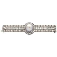 Cartier Art Deco Natural Pearl and Diamond Pin Brooch