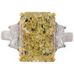 GIA Certified 6.37 Carat Y-Z Diamond Gold Ring