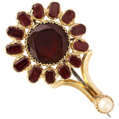 15 Karat Gold, Garnet, Georgian Haley's Comet Brooch