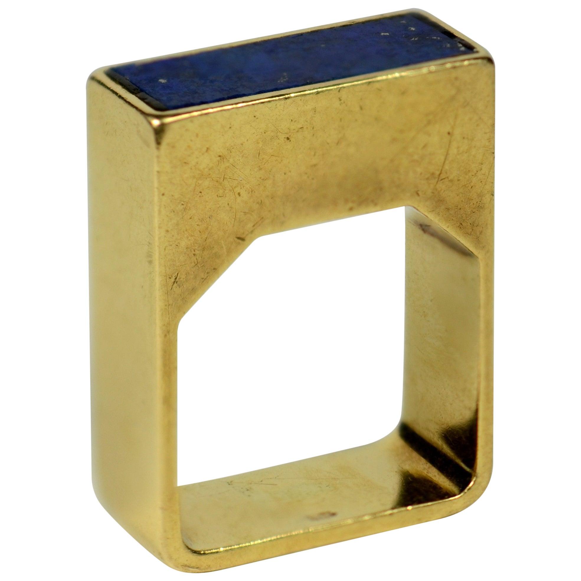 Postmodern Square Lapis Lazuli Gold Ring