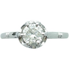 1900s French Antique Old Mine Cut Diamond Platinum Solitaire