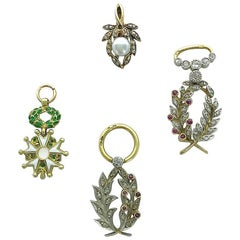 Four French Antique Diamond Ruby Pearl Platinum and Gold Pendant Charms
