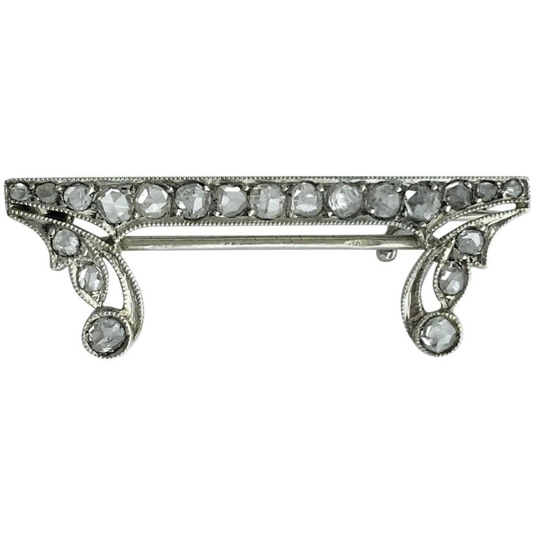 1920s Art Deco Rose Cut Diamond Platinum Brooch