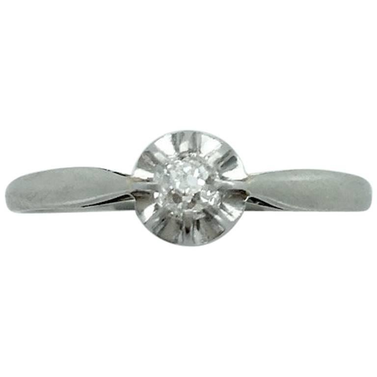 1900s French Antique Diamond Platinum and White Gold Ring