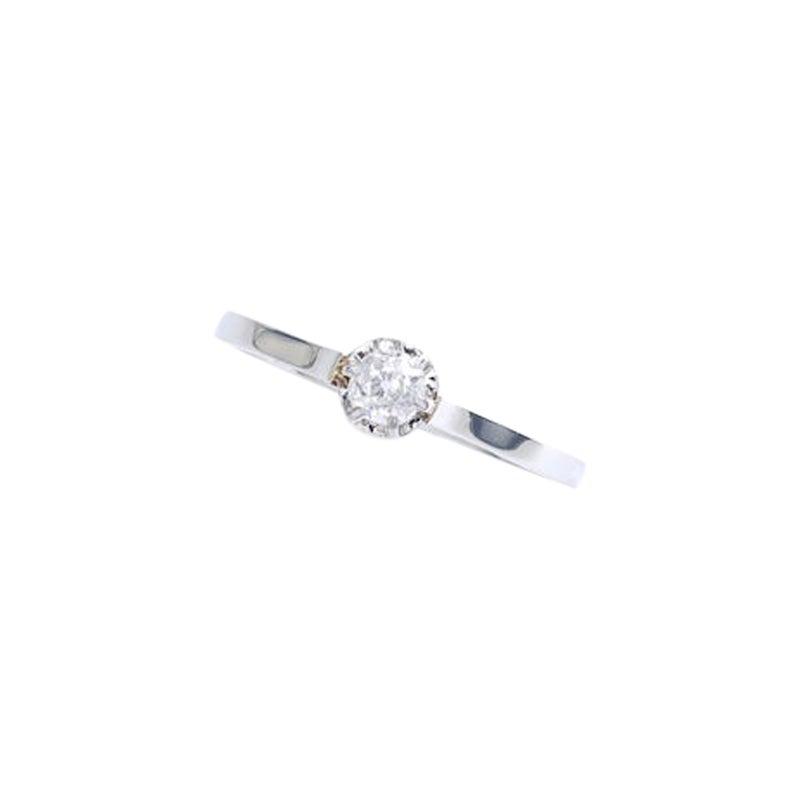 1900s Antique Diamond Solitaire Platinum and White Gold Ring