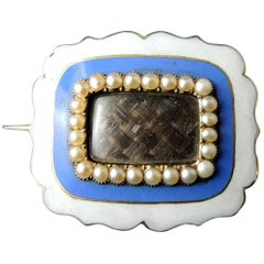 Antique Victorian Sentimental Brooch with Hair and Enamel, 19th Century