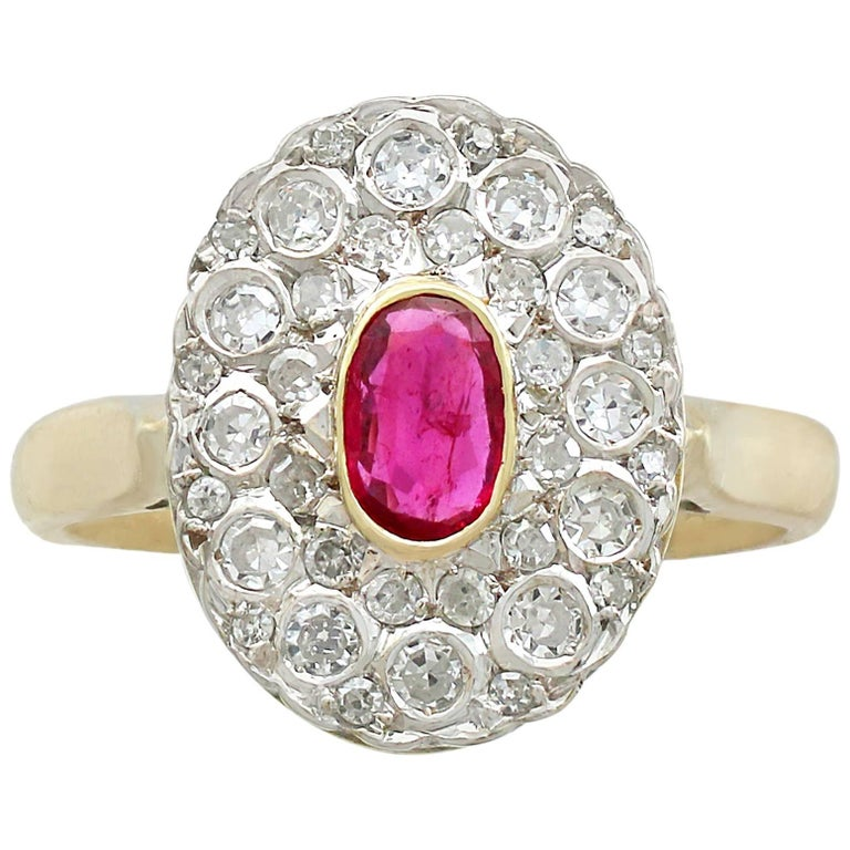 1950s Ruby and Diamond Yellow Gold Cluster Ring