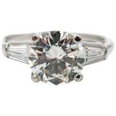 GIA Certified Round Diamond Platinum Engagement Ring