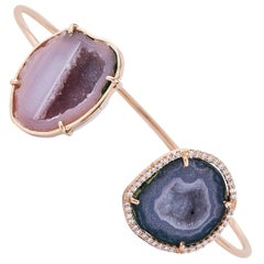 Karolin Rose Gold White Diamond Agate Geode Bangle