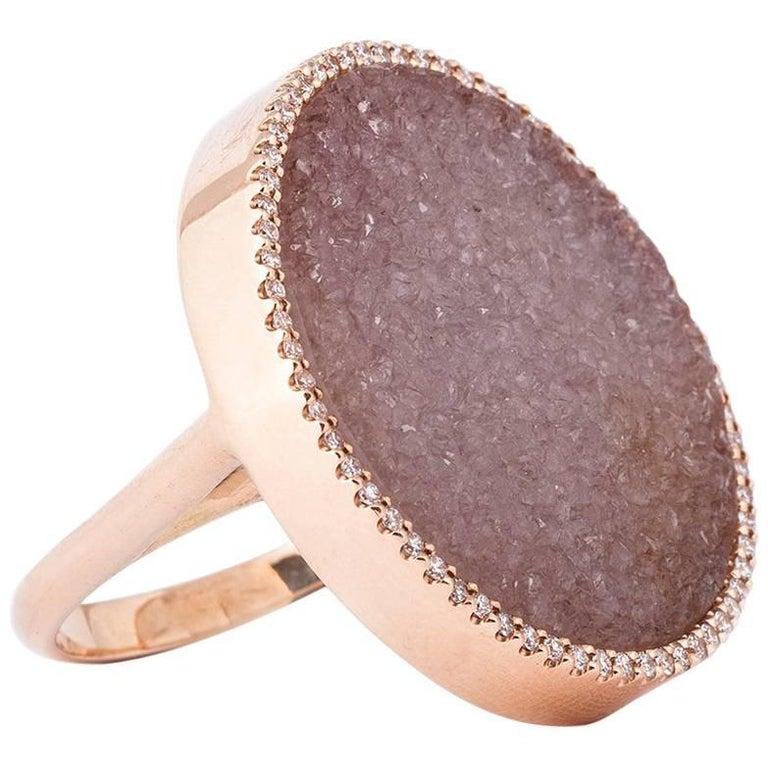Karolin Round Druzy Agate White Diamond Cocktail Ring