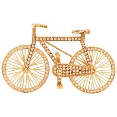 1980s Diamond 18 Karat Gold Bicycle Figurine Pin Brooch