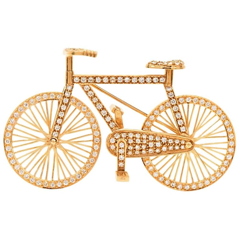 1980s Diamond 18 Karat Gold Bicycle Figurine Pin Brooch