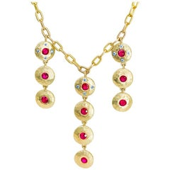 Gemfields Ruby  Diamond Gold Bib Necklace