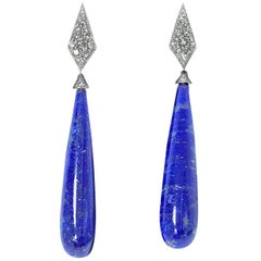 Diamond and Lapis Drop Earrings