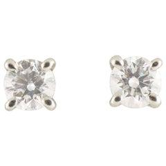 Tiffany & Co. Solitaire Diamond Earrings 0.34 Carat