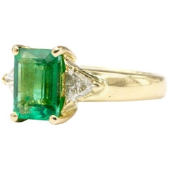 Gold 2 Carat Emerald and Diamond Ring