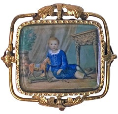 Swiss Gold Portrait Miniature, circa 1800 Attributed Anton Graff
