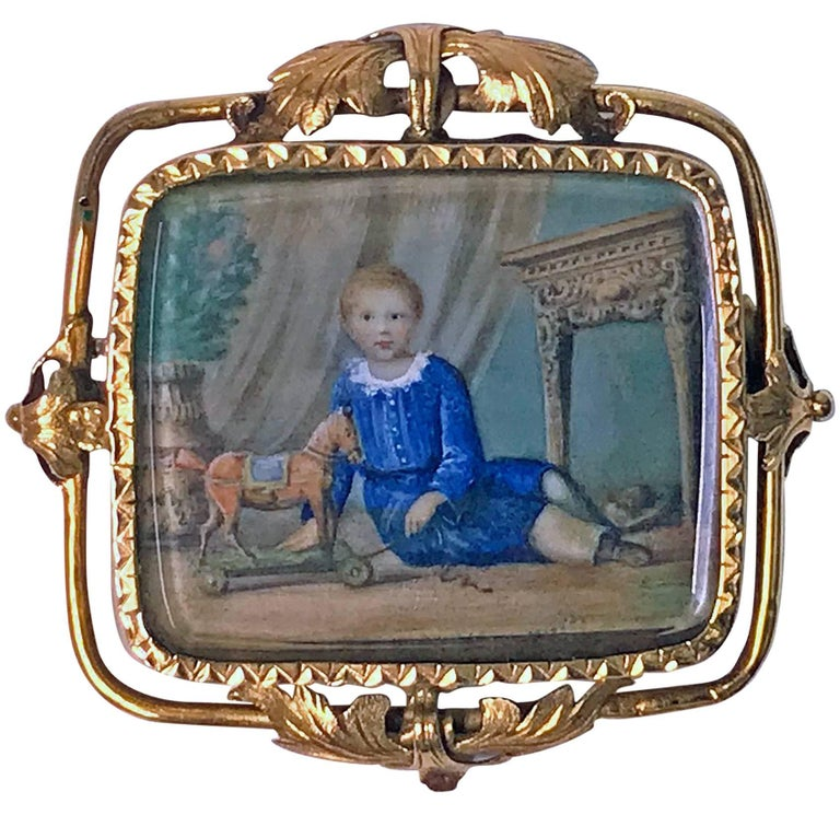 Swiss Gold Portrait Miniature, circa 1800 Attributed Anton Graff For Sale