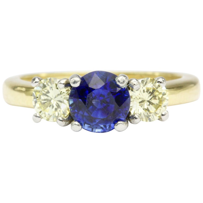 Yellow Gold and Platinum No Heat 1.52 Carat Sapphire and Fancy Diamond Ring