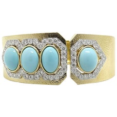 David Webb Turquoise and Diamonds Yellow Gold Cuff
