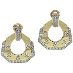 David Webb Yellow Gold Diamond Drop Earrings