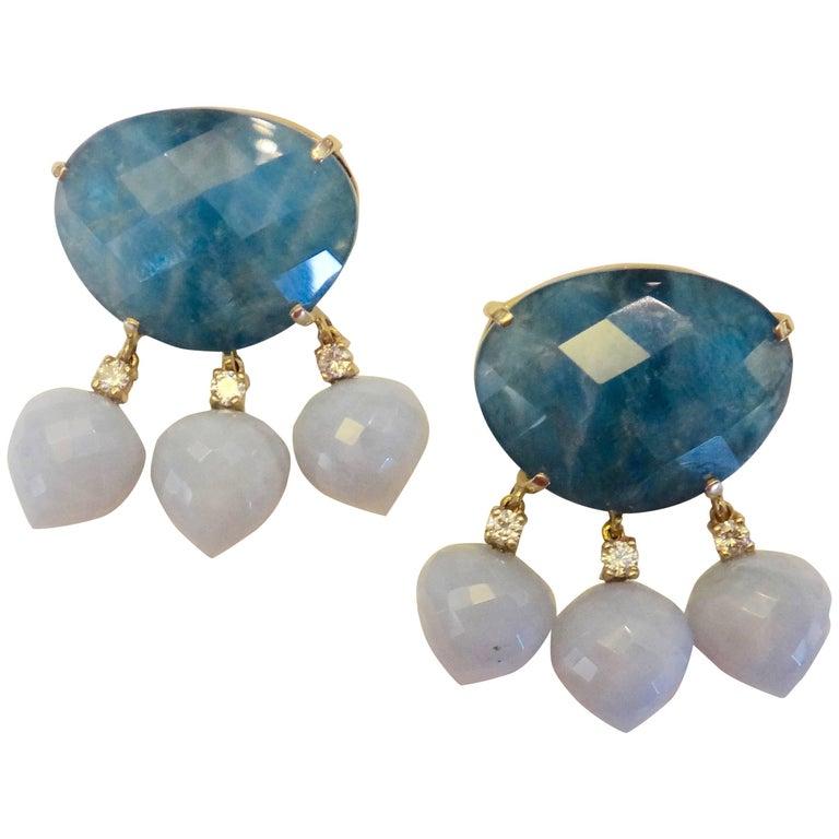 Michael Kneebone Apatite Blue Opal Diamond Dangle Earrings
