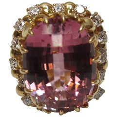 Julius Cohen Pink Tourmaline and Diamond Ring